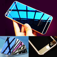 Front+Back Tempered Glass Mirror Effect Color OR 3D Diamond Colorful Screen Protector Case Film for Iphone 4 4S 5 5S 6 6S 7 Plus