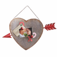 Heart and Arrow Magnetic Wall Board - Hang Up Tin Sign with 2 Heart Shaped Magnets - 25-in