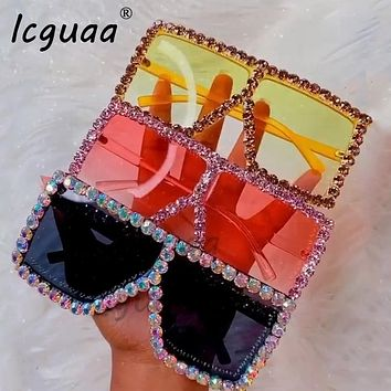 Oversized Crystal Sunglasses Women Square  sunglasses Bling Rhinestone Sun glasses for Woman Luxury Fashion Shade UV 400