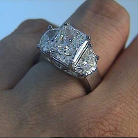 3.88ct Radiant Cut Diamond Engagement Ring Half moon and 18kt GIA certified JEWELFORME BLUE