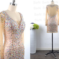 Long Sleeves Champagne Mini Prom Dresses, Champagne Tulle with Crystal Short Prom Gown, Luxury Mini Formal Dresses, Sexy Mini Evening Dress