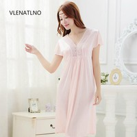 2015 summer style Noble sexy women's laciness lace royal spaghetti strap viscose long design nightgown