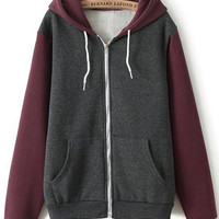 Casual Style Long Sleeve Color Blocking Hoodies with Zip