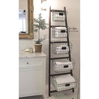 Creative Co-Op Bistro Wood Ladder with 5 Wire Baskets & Reviews | Wayfair