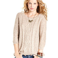 Pink Rose Juniors Sweater, Three-Quarter Sleeve Cable-Knit - Juniors Sweaters - Macy's