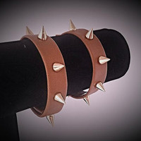 Genuine Leather Strap Cuff Style Super Soft Brown Spiked Bracelet with Gold Tone 10mm Spikes