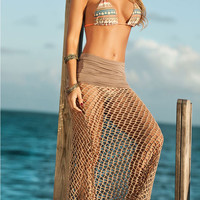 Brown Fishnet Beach Skirt with Ruched Waistline