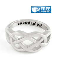 """Love Gift - Double Hearts Couples Ring Engraved on Inside with """"One Heart And Soul"""", Sizes 6 to 9"""
