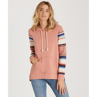 BLANKED STRIPE HOODED FLEECE