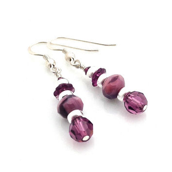 Purple Earrings, Modern, Swarovski Crystal, Silver and Purple, Stacked, Sterling Silver, Deep Purple