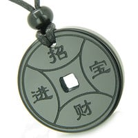 Amulet Lucky Coin Medallion Black Agate Spiritual Protection Powers Pendant Necklace