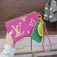 Louis Vuitton LV new product color matching letter print ladies three-piece key case cosmetic bag