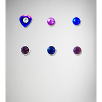 20 Gauge Blue, Purple Gem Heart Nose Stud 6-Pack