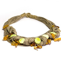 Jade and Baltic amber on multistranded hemp necklace