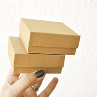 """20 Boxes with lid I Small jewelry boxes with lid I Card stock boxes with lid I Grey, white, kraft presentation boxes 2.95x2.95x1.18"""""""