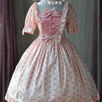 Short Sleeve Heart Printed Sweet Lolita Dress by Magic Tea Party
