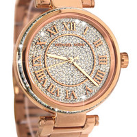 Michael Kors MK5868 Skylar Rose Gold Crystal Dial Steel Bracelet Women Watch NEW
