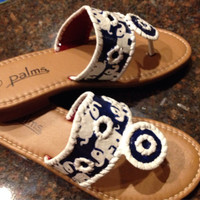 hand painted sandals styled like Jack Rogers with Lilly Pulitzer inspired tusk n sun pattern.