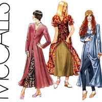 1990s Dress Pattern Uncut Bust 30 31 32 McCalls 6740 Princess Seam Overdress Slip Evening Boho Maxi Coat Dress Womens Vintage Sewing Pattern