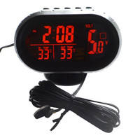 Automotive Clock Table Digital Clock Car Temperature Thermometer Luminous Clock Car Accessory
