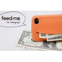 Cute Feed Me Smiley Case Cover for iPhone4 / 4S - Orange