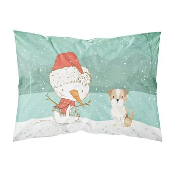 Brown and White Terrier Snowman Christmas Fabric Standard Pillowcase CK2096PILLOWCASE