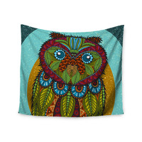 "Art Love Passion ""Owl"" Teal Multicolor Wall Tapestry"