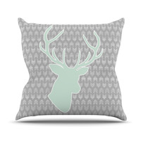 "Pellerina Design ""Winter Deer"" Gray Green Throw Pillow"