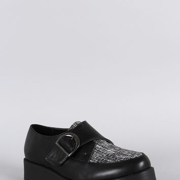 Wild Diva Lounge Buckle Flatform Creeper