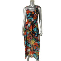Spense Womens Petites Chiffon Floral Print Maxi Dress