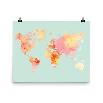 World Map Watercolor Art Print, Blush and Mint Palette