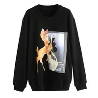 Givenchy New Fashionable Women Leisure Lovely Deer Print Long Sleeve Round Collar Sweater Pullover Top Sweatshirt