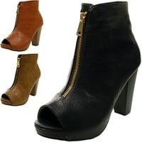 Womens Ankle Boots Chunky Block Heel Bootie Gold Zipper Leatherette Fashion Shoe