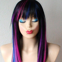 Rainbow Ombre/black wig. Long straight  hair/ rainbow highlights wig. Top quality Heat resistant Synthetic wig