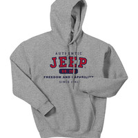 """All Things Jeep - Jeep Sweatshirt - """"Authentic Jeep - Freedom & Capability"""" -Grey, Hooded"""