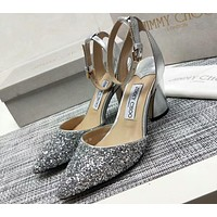 Jimmy Choo 2018 counter new high quality pointed stiletto shallow mouth high heels F-RCSTXC