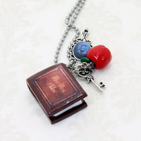 """Once Upon A Time Necklace V2 """"Henry's Book"""" Poison Apple, Queen's Keys and Mirror"""