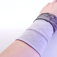 Reversible Stretch Wrist Bracelet Light GRAY and GRAY LACE Fashion accessory Women Teens Wrist Tattoo Cover