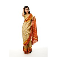 Silk Bandhani Print Wedding Sari