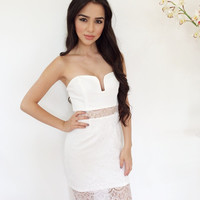 Laced To Perfection Midi Dress- White