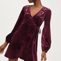 Embroidered Velvet Wrap Dress