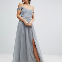 Little Mistress Pleated Maxi Dress With Bardot Sleeves And Embellished Waist at asos.com