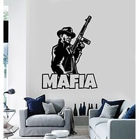 Vinyl Wall Decal Mafia Gangster Retro Gun Teen Room Stickers Mural (g3089)