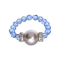 Crystal Avenue Silver-Plated Simulated Pearl & Crystal Stretch Ring - Made with Swarovski Elements