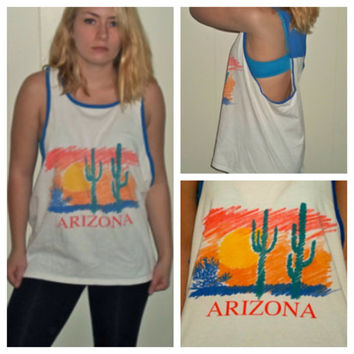 90s Arizona Desert Frat Tank, Colorful Cactus Cut Off Low Cut Sleeveless Shirt