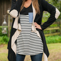 Contrast Elbow Patched Asymmetric Cardigan