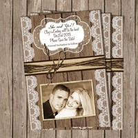 Save the Date Anouncement ,Rustic, Wood and Lace, Digital file, Printable
