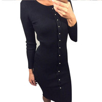 Feitong Women Sweater Knitted Long Dress Autumn Sexy Button Long Sleeve BodyCon Sweater Pencil Maxi Dress vestidos femininos New