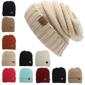 Fashion Winter Knitted Wool Cap Unisex Women Men  Folds Casual CC Labeling Beanies Hat Solid Color Hip-Hop Skullies Beanie Hat Gorros [9145172934]
