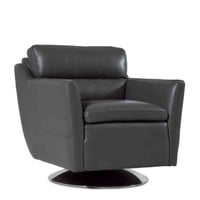 Clio Full top Grain leather Contemporary Chair Cool Grey